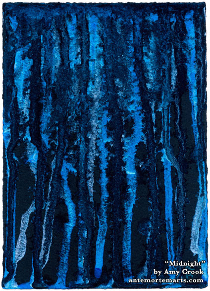 Midnight, abstract watercolor by Amy Crook