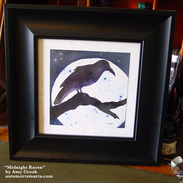 Midnight Raven, framed art by Amy Crook