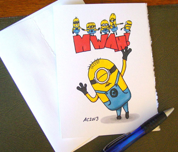 Minion MWAH! blank greeting card by Amy Crook on Etsy