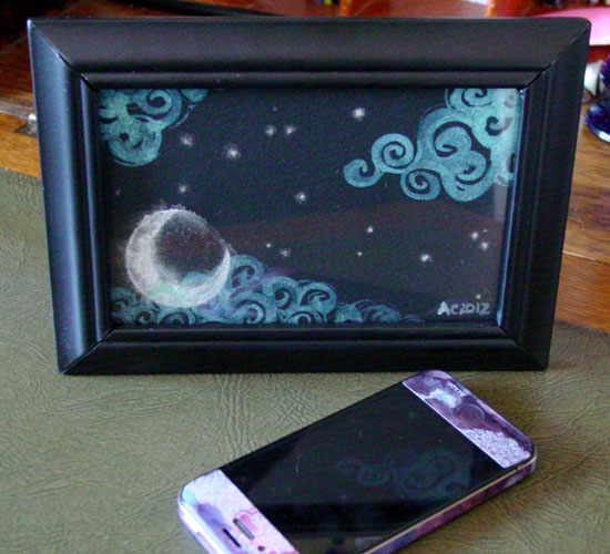 Misty Moon, framed art by Amy Crook