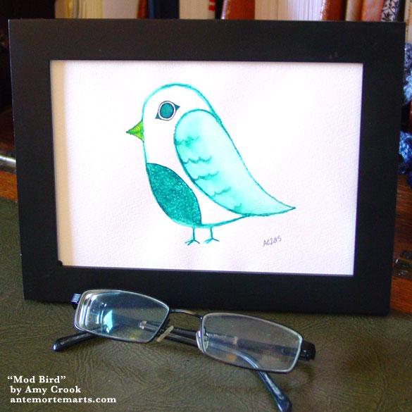 Mod Bird, framed art by Amy Crook