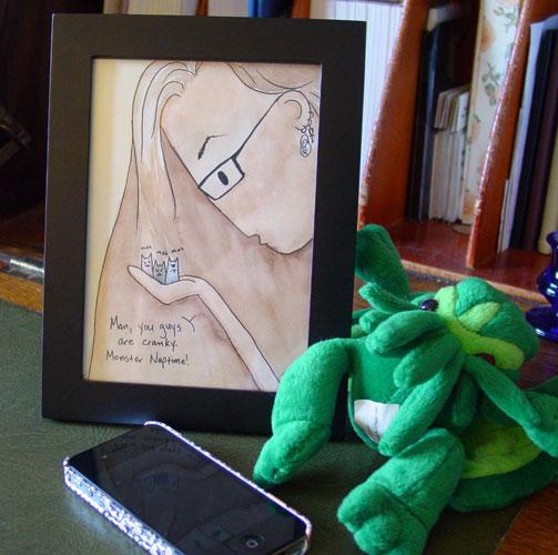 Monster Naptime, framed art by Amy Crook