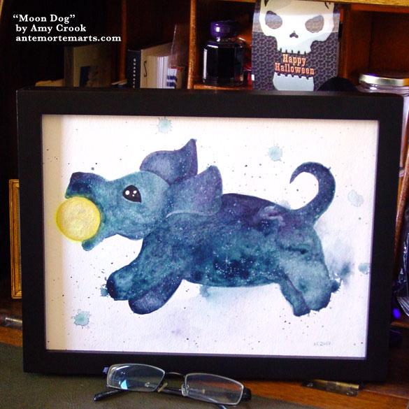 Moon Dog, framed art by Amy Crook
