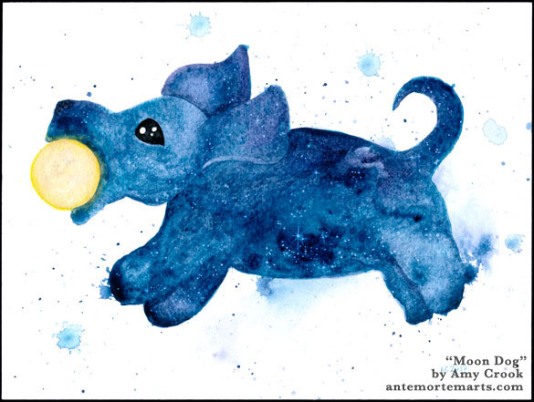 Moon Dog, watercolor art by Amy Crook