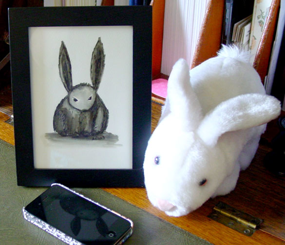 Motherfucking Bunny, framed art by Amy Crook, with Vorpal Bunny for good measure