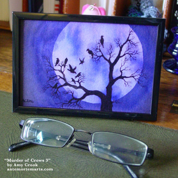 A Murder of Crows 3, framed art by Amy Crook