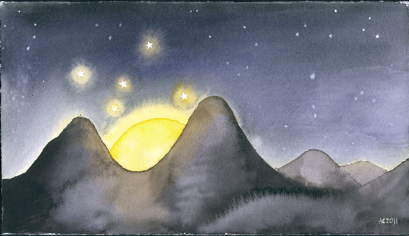 Moon Valley watercolor by Amy Crook