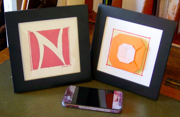 N is for Negative Space & O is for Origami, framed art by Amy Crook