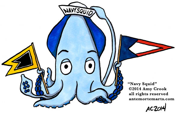 Navy Squid, commissioned art by Amy Crook, all rights reserved