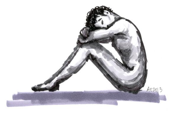 figure sketch in neutral greys