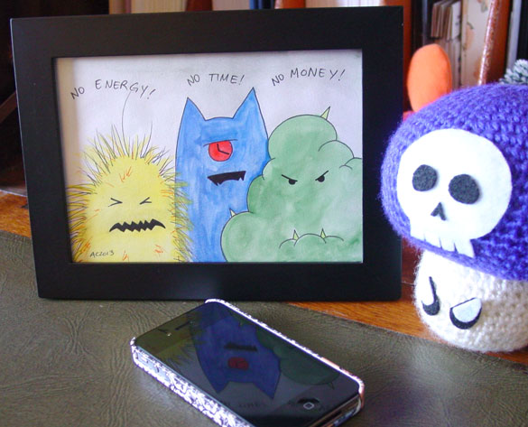 No No No Monsters, framed art by Amy Crook