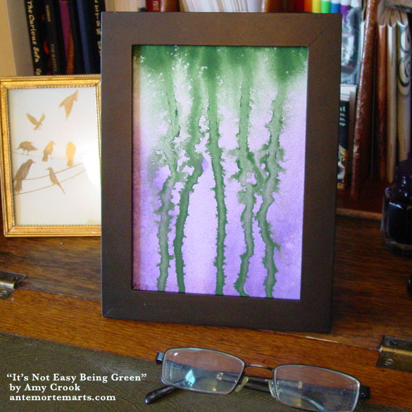 It's Not Easy Being Green, framed art by Amy Crook