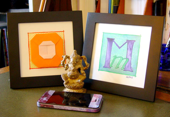 O is for Origami and M is for Majuscule & Miniscule, framed art by Amy Crook