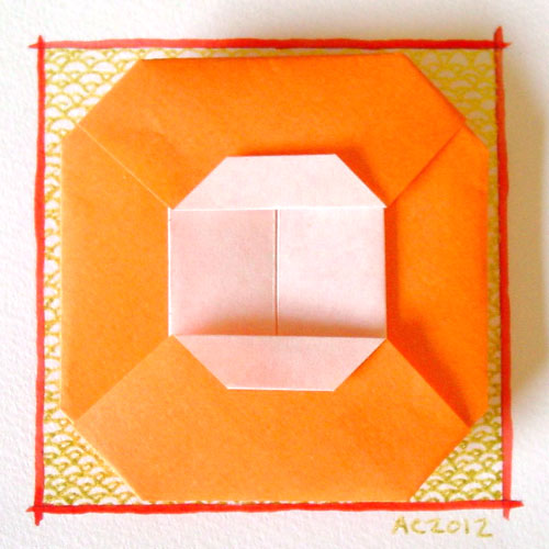 O is for Origami, calligraphic illumination by Amy Crook