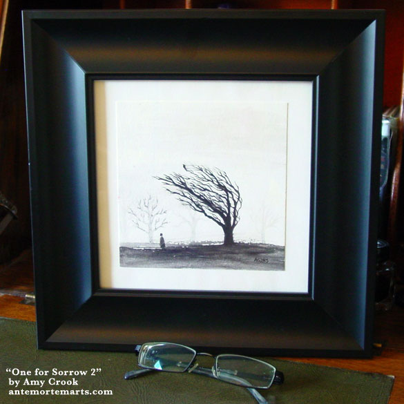 One for Sorrow 2, framed art by Amy Crook