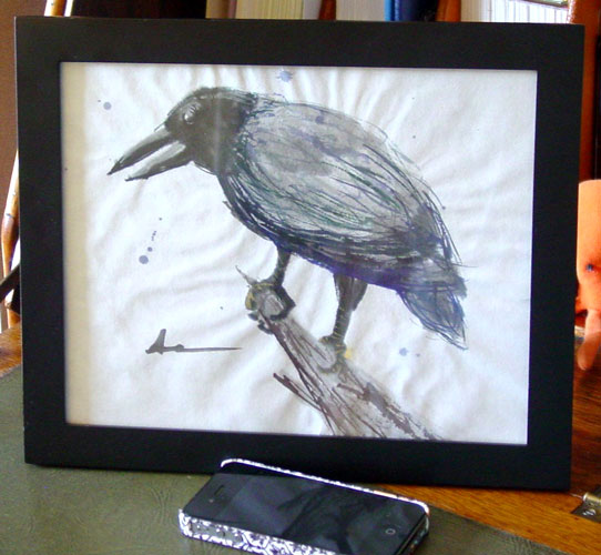 One for Sorrow, framed art by Amy Crook