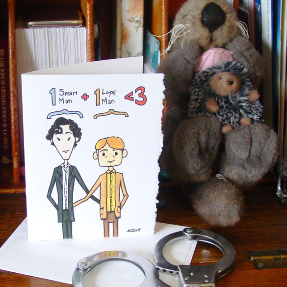 One Plus One is Less Than Three, a Sherlock card by Amy Crook at Etsy