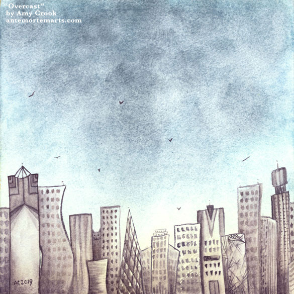 Overcast by Amy Crook, an imaginary city skyline below a vast cloudy sky