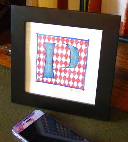 P is for Pattern & Primary, framed art by Amy Crook