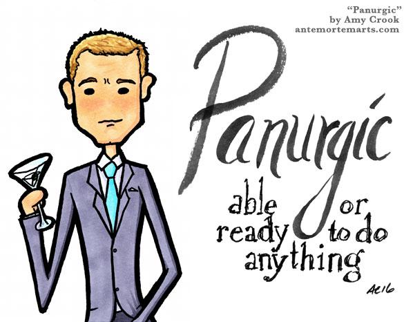 Panurgic, James Bond parody word art by Amy Crook