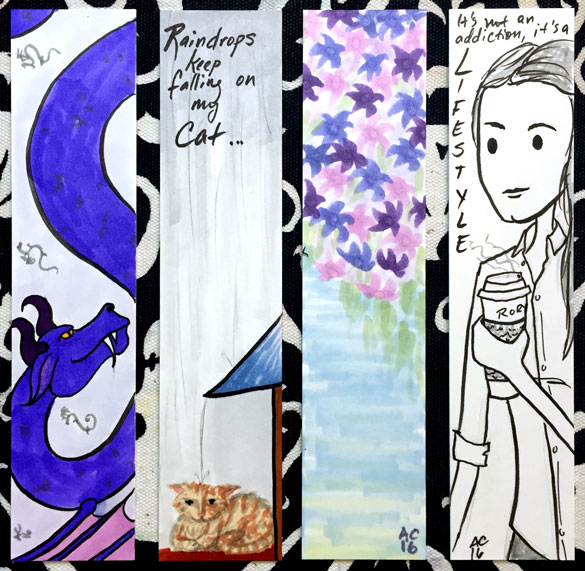 4 bookmarks by Amy Crook, pen & ink and Copic marker