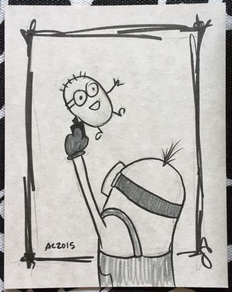 Drawing of a Minion Drawing a Minion by Amy Crook