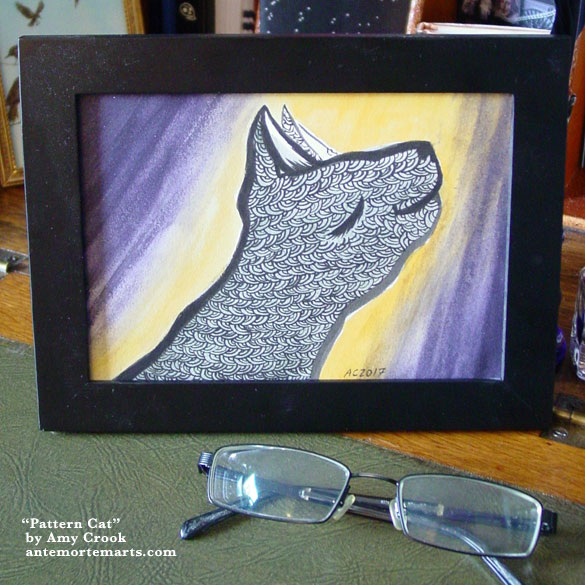 Pattern Cat, framed art by Amy Crook