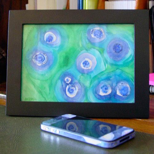 Peacock Blue, framed art by Amy Crook