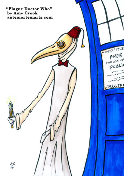 Plague Doctor Who, parody art by Amy Crook