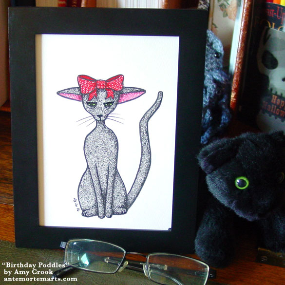 Birthday Poddles, framed art by Amy Crook