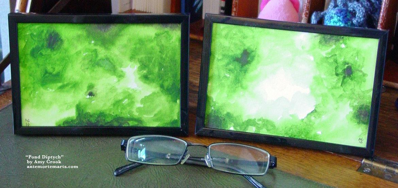 Pond Diptych, framed art by Amy Crook
