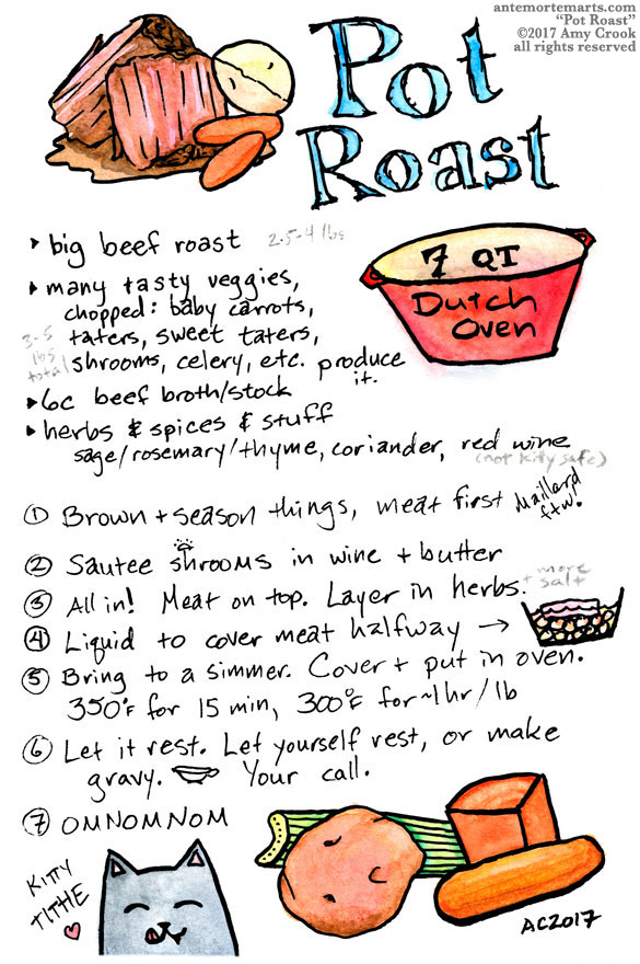 Pot Roast recipe, illustrated by Amy Crook