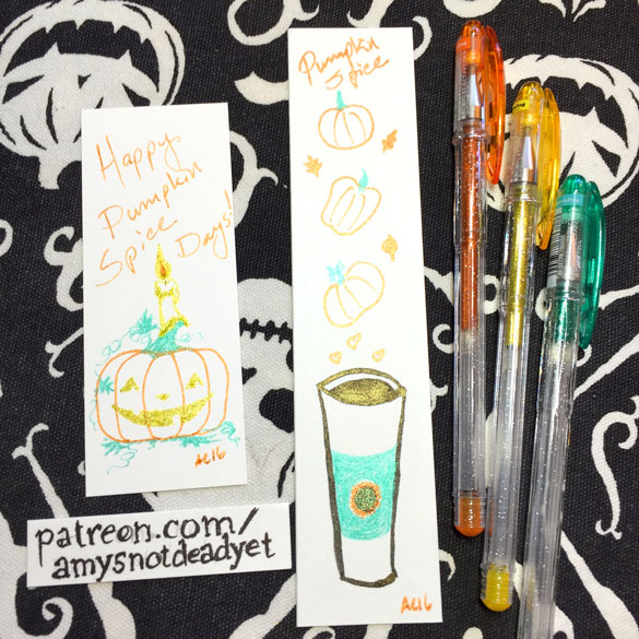 Pumpkin Spice Patreon, two bookmarks by Amy Crook