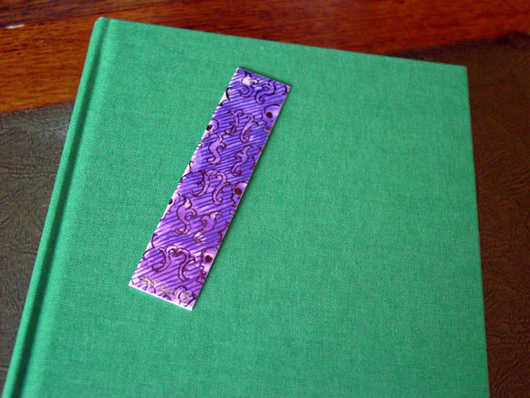 Purple Pattern Bookmark, with book, by Amy Crook