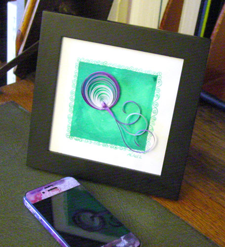 Q is for Quilling, framed art by Amy Crook