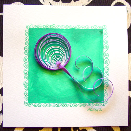 Q is for Quilling, calligraphic illumination by Amy Crook