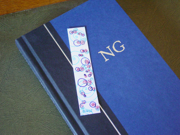 Bubble Queue Bookmark, with book, by Amy Crook