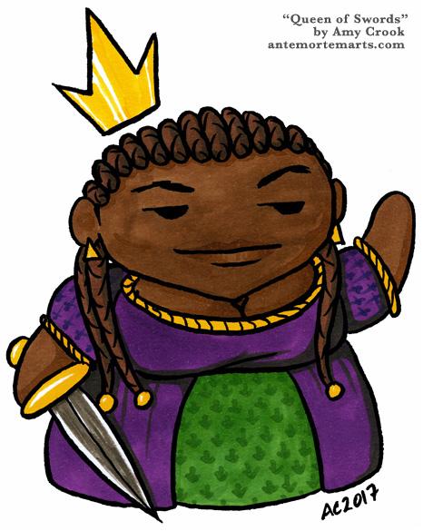 Queen of Swords, chibi tarot art by Amy Crook