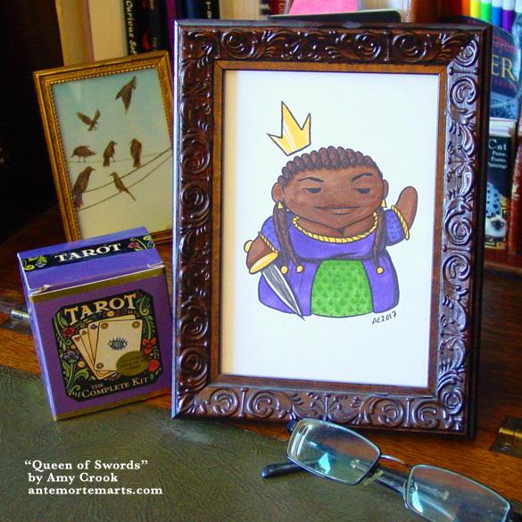 Queen of Swords, framed art by Amy Crook
