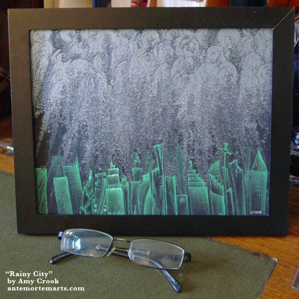 Rainy City, framed art by Amy Crook