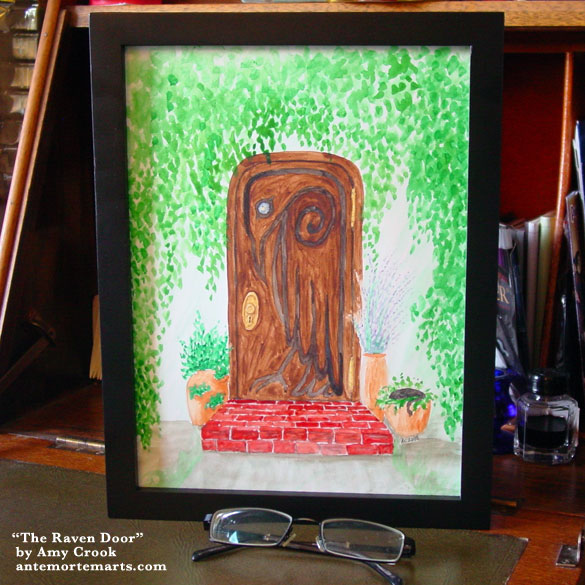 The Raven Door, framed art by Amy Crook