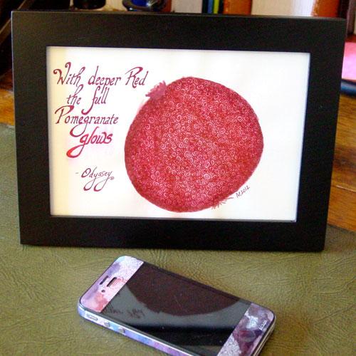 Pomegranate, framed art by Amy Crook