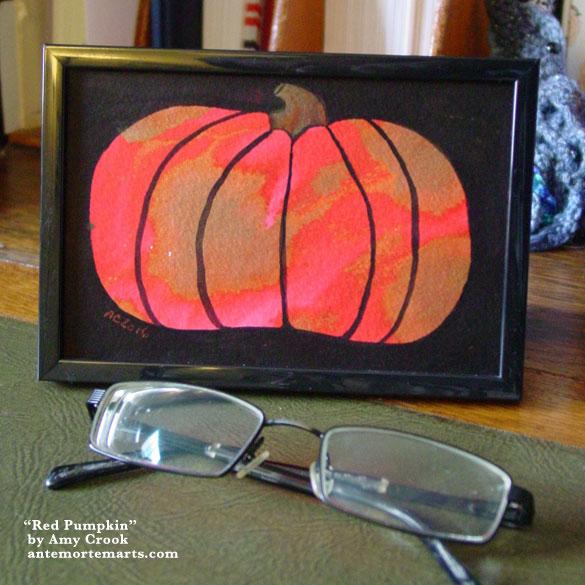 Red Pumpkin, framed art by Amy Crook