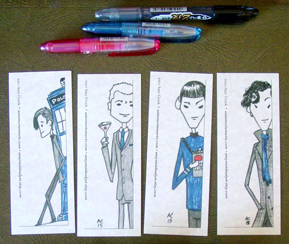 4 Red & Blue Bookmarks by Amy Crook