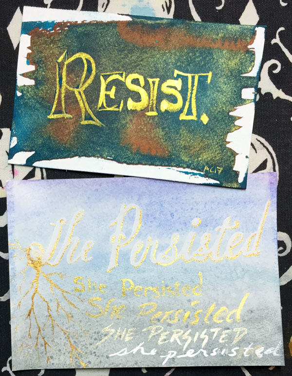 Resist and She Persisted, defiant word art by Amy Crook