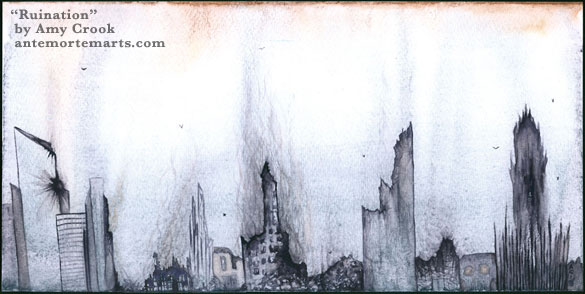 Ruination by Amy Crook, a muted watercolor painting of smoking ruins against a pale sky full of carrion birds