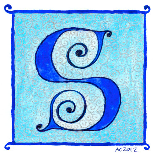 S is for Spirals, calligraphic illumination by Amy Crook