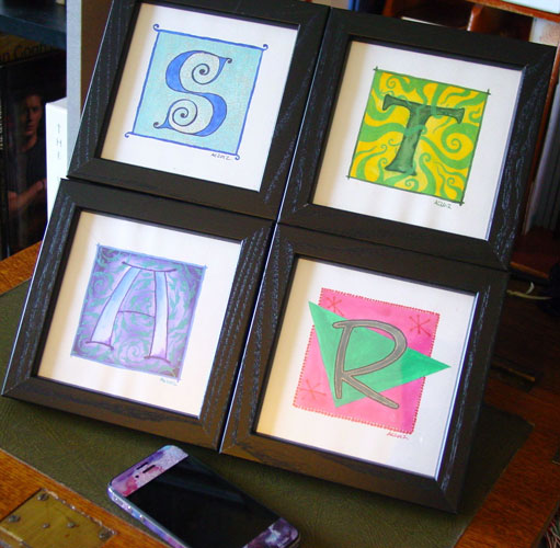 S, T, A & R, calligraphic illuminations by Amy Crook