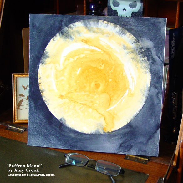 Saffron Moon, abstract art by Amy Crook