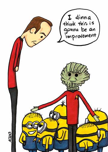 Scotty Gets Minions, mashup fan art by Amy Crook